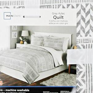 Southwestern Aztec Full/Queen Quilt Gray & White